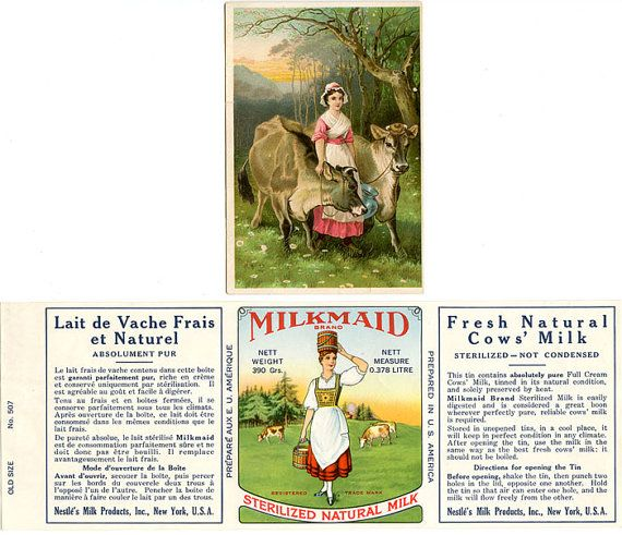 2 Vintage Jersey Cow Advertising  Label And Trade Card