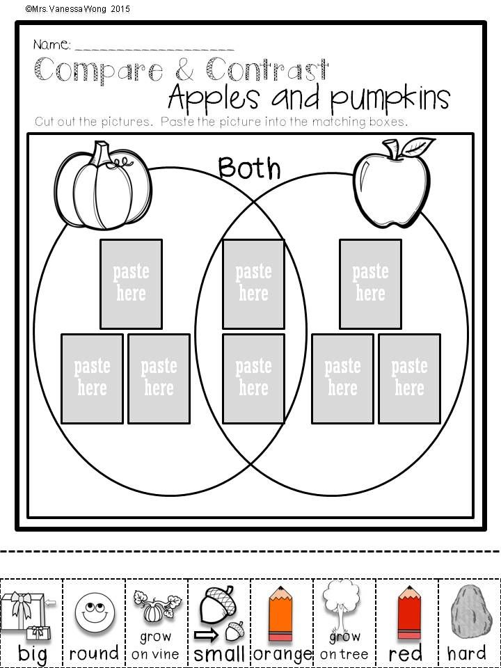 Download free printables at preview. Compare and contrast- apples and pumpkins. Fall Math and Literacy No Prep - Kindergarten. An excellent pack with a lot of sight word, CVC spelling, vocabulary, word work, reading, fluency and other literacy activities and practice