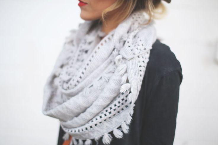 Lovely fringed grey scarf
