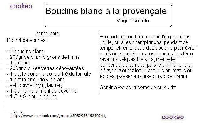 Pour réaliser du Boudin Blanc à la provençale, il vous faudra utiliser la cuisson rapide pour environ 15 minutes.