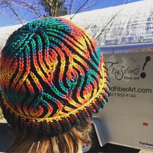 Love this hat!  Phoenix colorway with Cinder contrast.  Knit by my talented mum and worn with panache by @marmarmette. More details on @knitterlyanne 's feed. #color #knitting #brioche