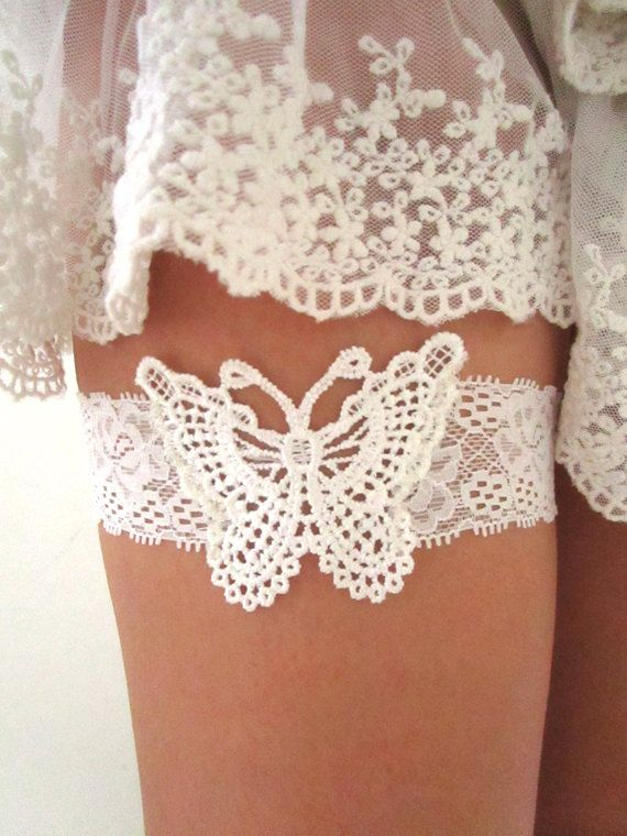 wedding garter bridal lace french butterfly ivory embroidery dentelle jarretelle romantic boho woodland bridal accessories rama