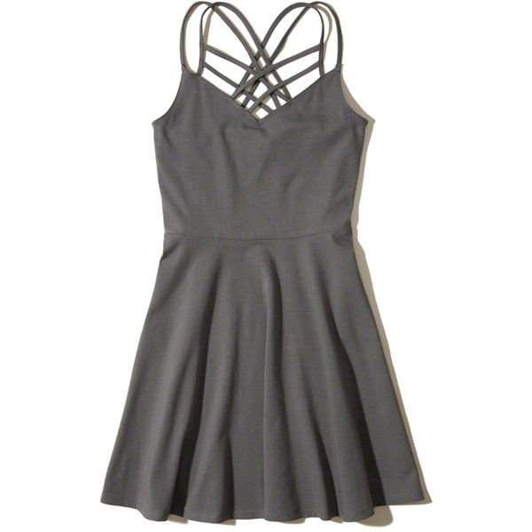 Hollister Strappy Knit Skater Dress (£23) ❤ liked on Polyvore featuring dresses, платья, grey, strappy dress, knit dress, skater dresses, gray knit dress and strappy skater dress