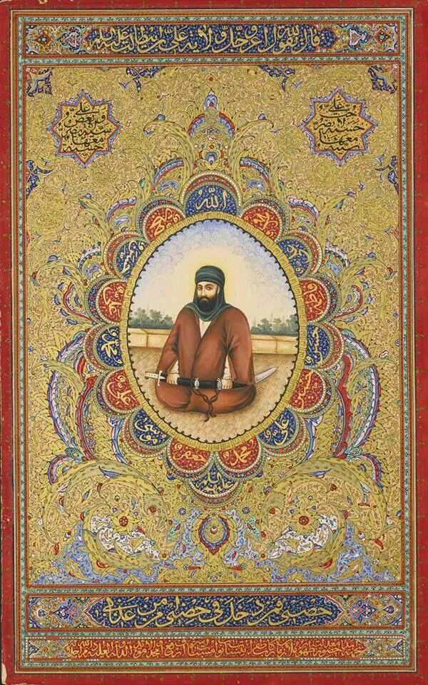 Illuminated portrait of Imam 'Ali. From Persia, Qajar period (19th century). Made with Ink, gouache and gold on paper.