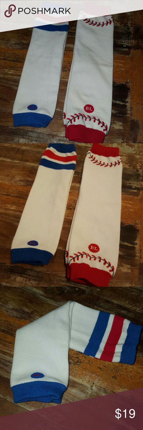 Infant/Toddler Legwarmers Two pairs of infant/toddler size legwarmers. BabyLeg brand! Both gently used but good condition. No stains! Red, white & blue striped pair and baseball pair. Retail for $16.99 each! Baby Leg Other