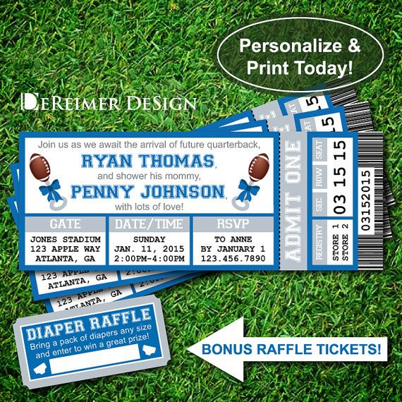 Sports Ticket Baby Boy Shower Invitation, Lions, Detroit Lions, Football, Blue, Gray, Instant Download, DIY +BONUS Diaper Raffle Tickets for $10.50