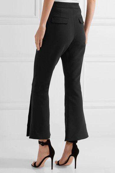 Ellery - Fourth Element Button-embellished Crepe De Chine Flared Pants - Black - UK12