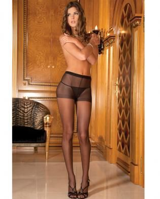 Rene rofe sheer pantyhose black o/s - Dress up those legs with the sexy Rene Rofe Sheer Pantyhose. These pantyhose are great for dressing up or dow...