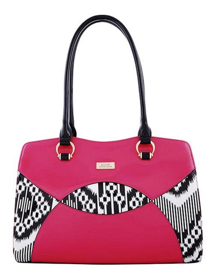 Serenade Aztec Pink Leather Matrix Pattern Square Handbag. SH53-7392.