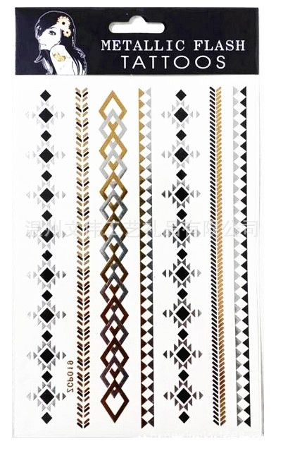 Flash tattoo metallic gold silver temporary tattoo beach sex products bronze wristwatch braclet chain jewelry women men art #Affiliate
