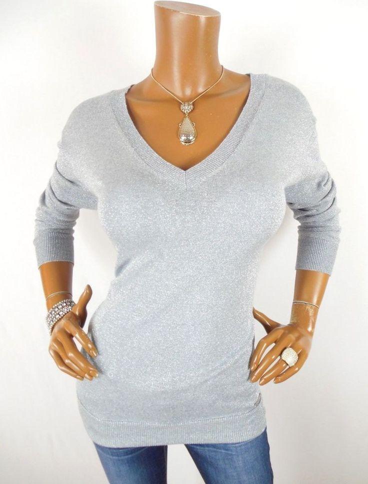 MICHAEL KORS Womens Top M V Neck Blouse Silver Metallic Shirt Stretch Long Slvs #MichaelKors #Blouse #Casual