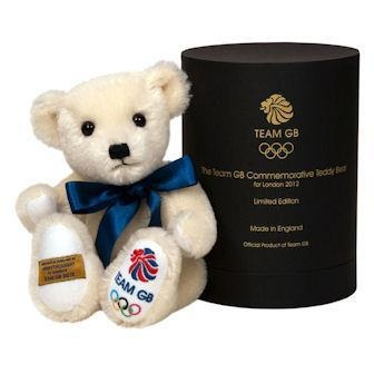 This very special, limited-edition bear is the official Team GB teddy bear for the 2012 Olympic Games. Each bear is handmade at the UK's last remaining teddy bear factory, which has been producing high-quality toys since 1930. Made from fine, soft mohair, each bear has a hand-stitched nose, movable arms and legs, a soft, bean-filled tummy and the Team GB logo stitched on to its paw.