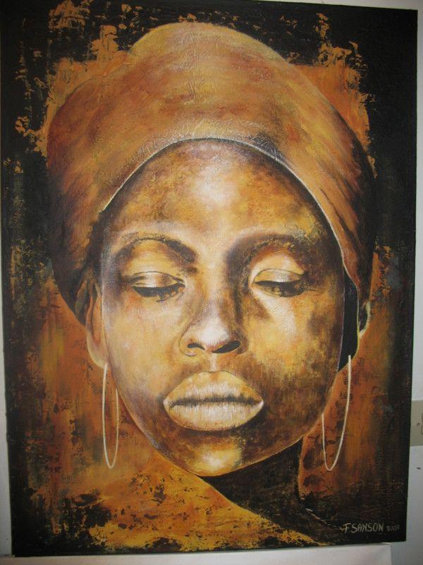 Visage d africaine peinture pinterest po sie africaine peinture et portrait dessin - Dessin africaine ...