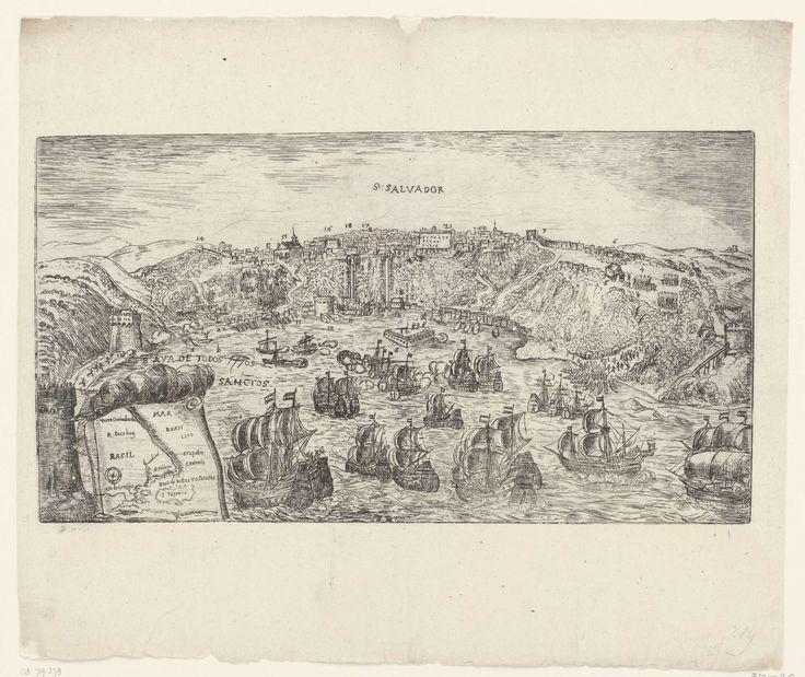 Anonymous | Verovering van San Salvador in Brazilië door admiraal Jacob Willekes, 1624, Anonymous, Claes Jansz. Visscher (II), 1624 - 1699 | De verovering van San Salvador in Brazilië door admiraal Jacob Willekes voor de WIC, 10 mei 1624. Gezicht op de stad en forten aan de ingang van de baai van waaruit de Hollandse vloot beschoten wordt. Linksonder een inzet met een kaartje van het groter gebied.