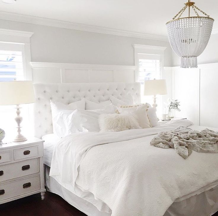 Lovely Beautiful All White Bedroom Ideas, Luxurious All White Bed With Upholstered  Tufted Headboard, White Nightstands, White Lamps, And Creamy White Bedding.