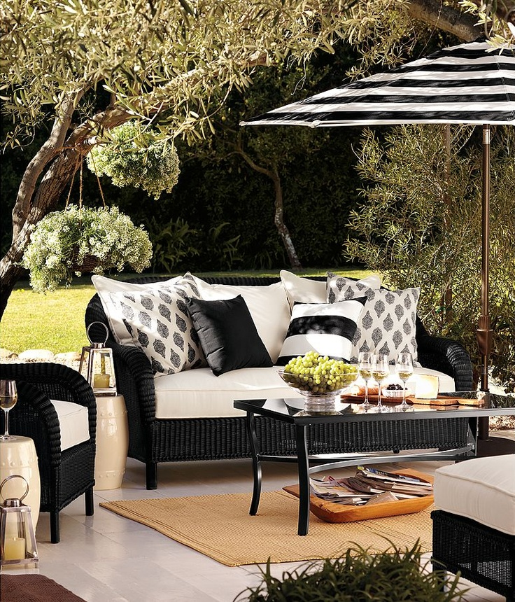 I Love This Cozy Black And White Outdoor Space   One Cannot Have Too Many  Outdoor