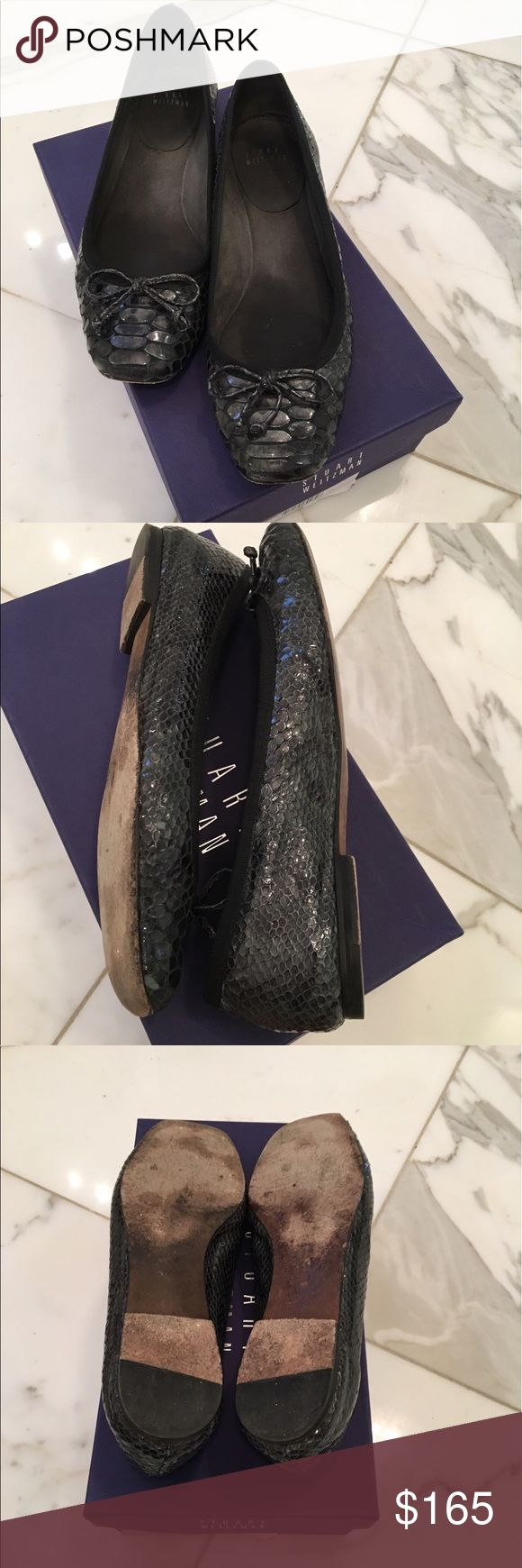 """Stuart Weitzman Ballet Flat Stuart Weitzman smoke crystal snake-embossed leather ballerina flat. 0.3"""" flat covered heel. Square toe with bow. Slip-on style. Padded footbed. Leather outsole. made in Spain. Stuart Weitzman Shoes Flats & Loafers"""