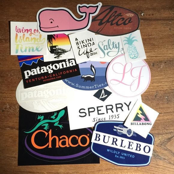 Preppy Stickers Preppy stickers from Patagonia, Vineyard Vines, Chacos & more! I also have orange Southern Marsh stickers! PLEASE CHECK BELOW TO SEE WHICH STICKERS HAVE BEEN SOLD! 1 sticker: $5 2 stickers: $7 3 stickers: $10 4 stickers: $14 5 stickers: $16 SOLD OUT: Colored Patagonia, Vineyard Vines, Bikini Life, White Patagonia ($1 extra will be added per Vineyard Vines, Patagonia and Chacos sticker.) (Free Shipping on Merc!) Vineyard Vines Other