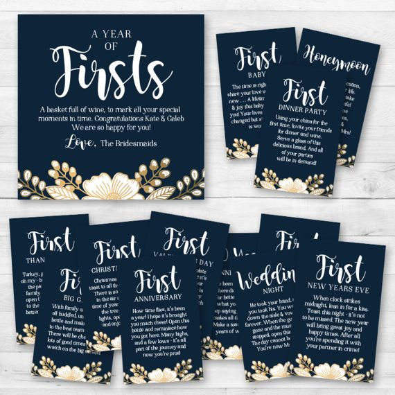 A Year of Firsts  Wine Gift Basket Tags  Bridal Shower Wine