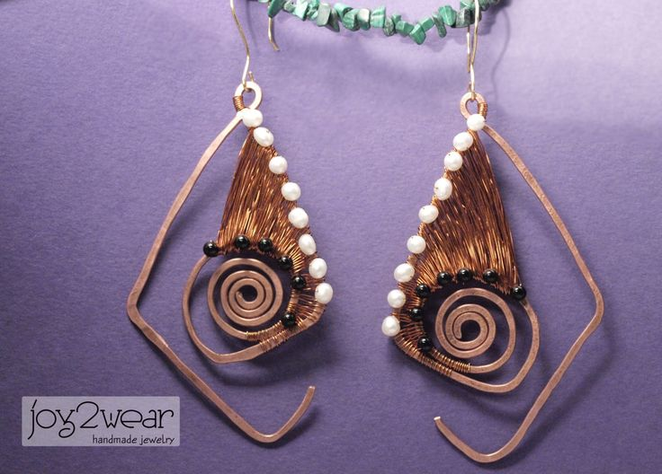 The Cellodinees - Pearls, Obsidian stones and copper wire earrings by joy2wear on Etsy