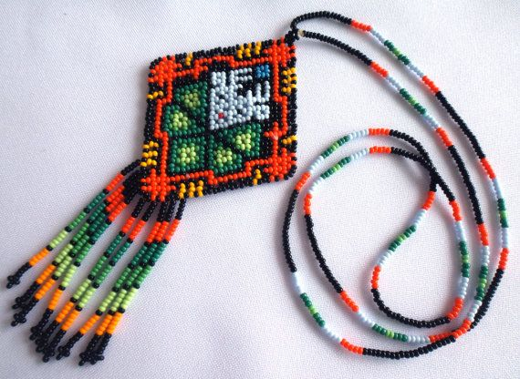 Mexican Huichol Beaded Deer and Peyote Necklace by Aramara on Etsy