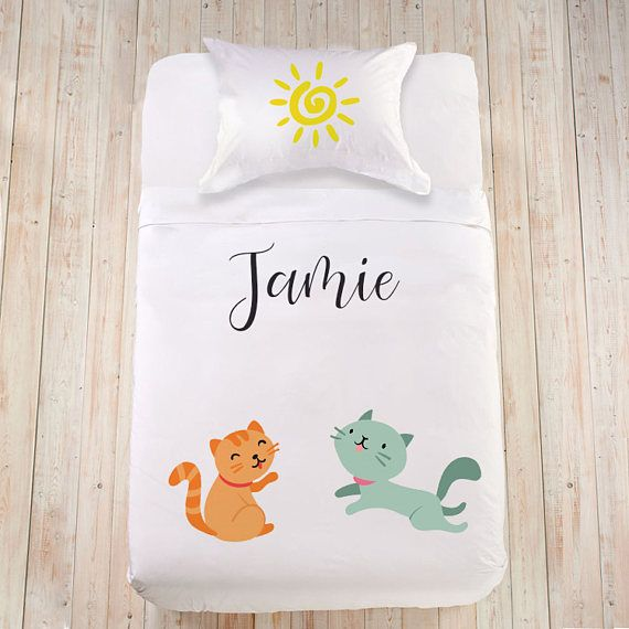 Bedding with Cat lover bedding Boy toddler bedding Duvet cover set for child King sheet set Personalized duvet cover Custom bed linen set  Lovely and thoughtful gift idea for a true cat lover! Sweet little kittens will take care of your most beautiful dreams and restful sleep!