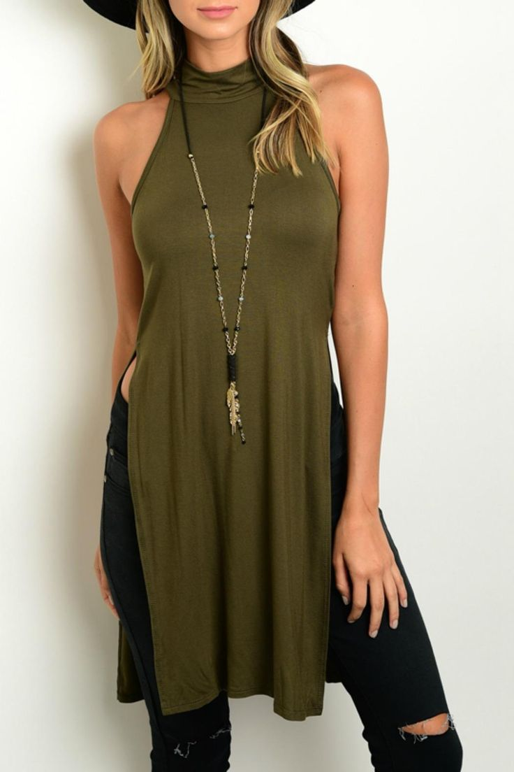 "You won't mind a few stares in the Carrie Olive Side Slit Top Tunic Top! Lightweight jersey knit falls from a sleeveless, mock neck down to a relaxed bodice with sexy double side slits.    Measurements: L: 36"" B: 28"" W: 28""   Side Slit Top by Lux Boutique. Clothing - Tops - Sleeveless Massachusetts"