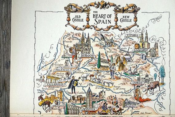 Este mapa de España es una ilustración del libro original. No es un análisis o una reimpresión. El arte mapa abarcó dos páginas en el libro de viaje vintage 1953 donde fue encontrado, por lo que las dos páginas deben alinearse antes de poner en un marco. Las dimensiones totales son 7,5 X 11 pulgadas. Artista Jacques Liozu señala a la región de Castilla con industrias, monumentos y ciudades (Madrid, Toledo c, etcetera) en una página de color hermoso. El mapa sería perfecto para enmarcar como…