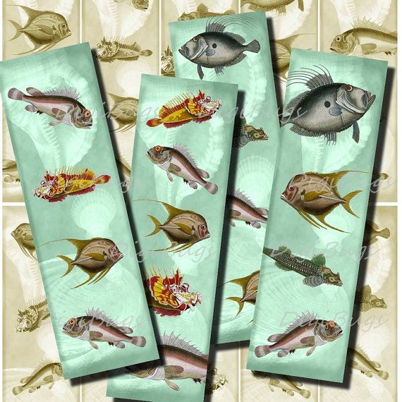 Printable Bookmarks - Fish, Sea Life 04 - Instant Download, Digital File, Vintage Images - DigiBugs