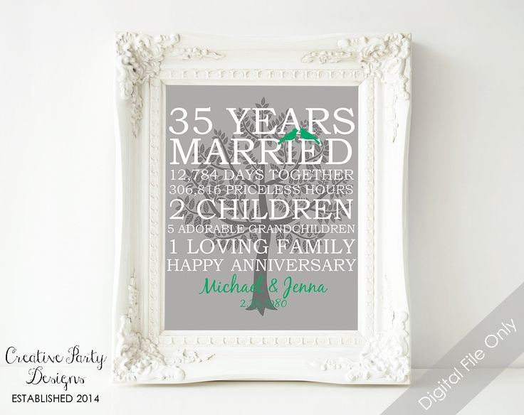 35th Wedding Anniversary Gift Print Family Prints Personalized Name Tree