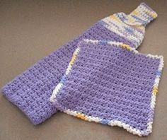 Hanging Towel and Matching Dishcloth - free crochet pattern