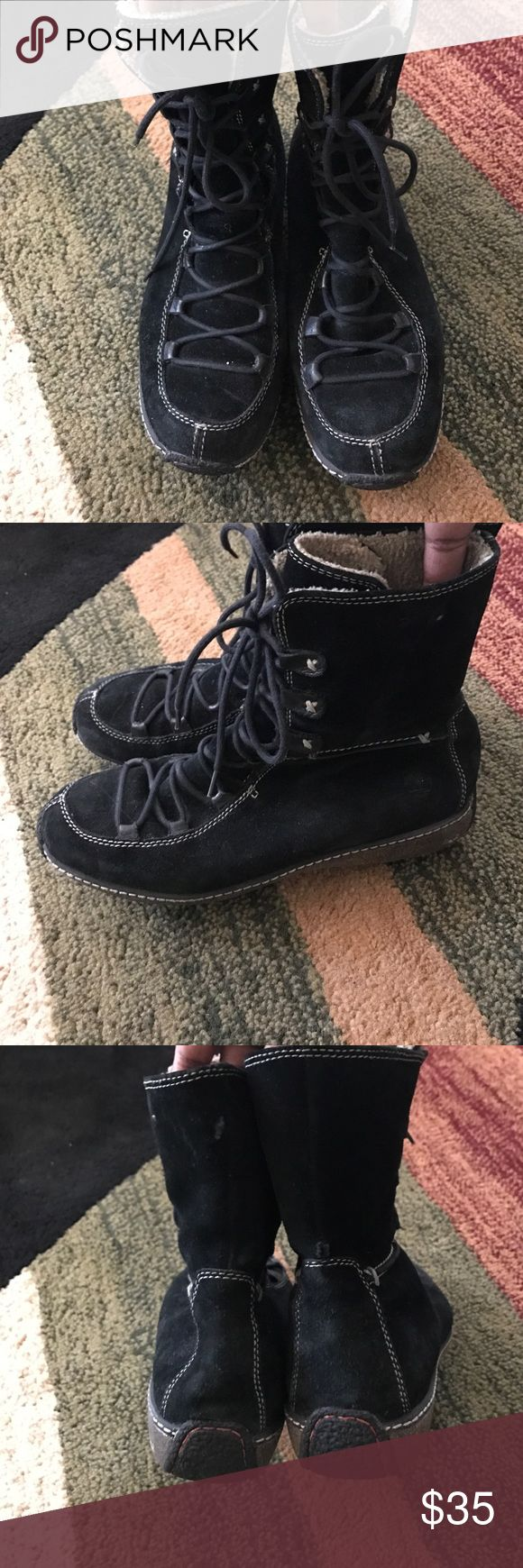 TIMBERLAND ALL WEATHER BOOTS TIMBERLAND ALL WEATHER SUEDE LACE UP BOOTS- BLACK TIMBERLAND Shoes Ankle Boots & Booties