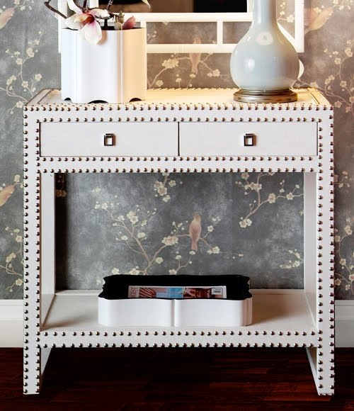 Marco Nailhead Console Table In White   The Marco Nailhead Console Table  Adds A Touch Of Glamour To Your Living Space. Features A Textured Lacquered  ...