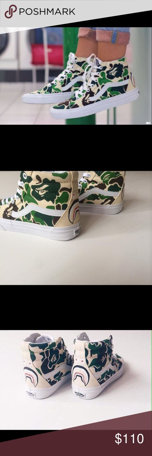 BAPE X Vans Sk8-Hi Sneakers Custom BAPE designed Vans. ***unisex shoe, runs in men's sizes, request size upon purchase*** Vans Shoes Sneakers