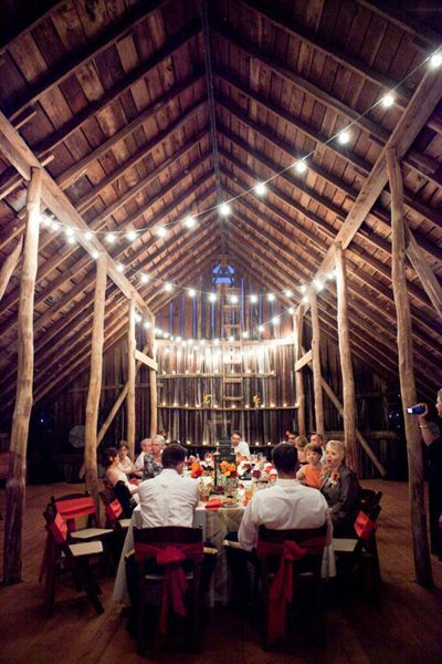 Light Strands – Lots of them! This will help to create instant ambiance and make the barn radiant and enchanting. Barns generally don't have the greatest lighting – but strands of lights hung about your dining area will make a huge impact. Buy them right after Christmas at a good price.