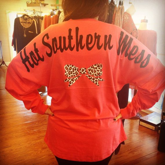 Hot Southern Mess Pom Pom Spirit Jersey with Leopard bow