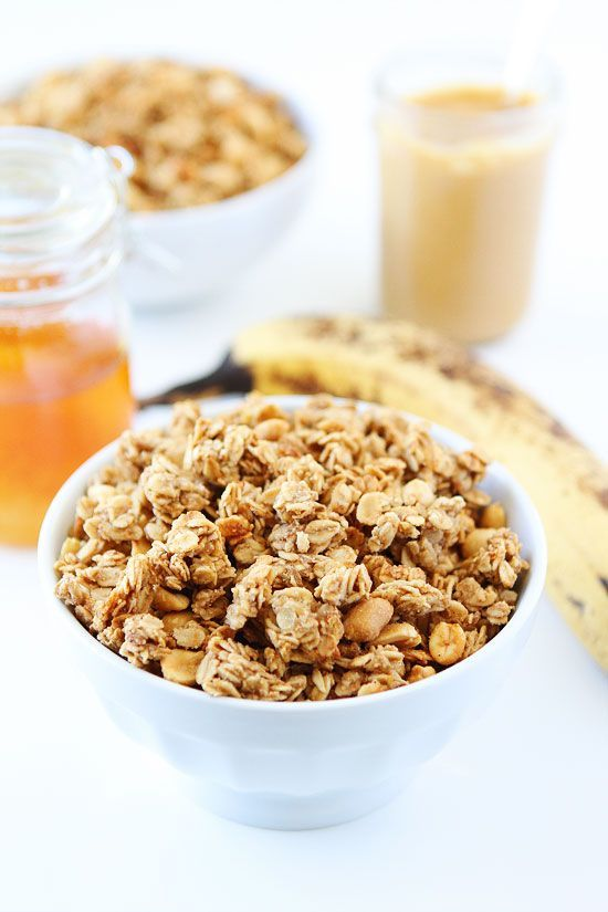 Peanut Butter, Banana, and Honey Granola Recipe on twopeasandtheirpo... This easy homemade granola is great for breakfast or snacking!