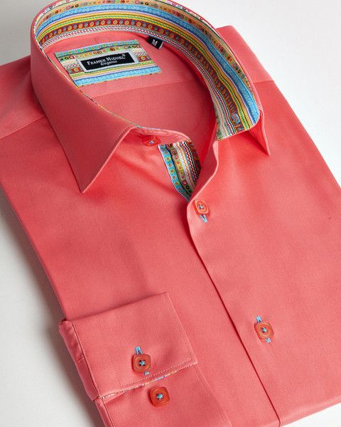 Franck Michel shirt | Red salmon italian shirt for men with colorful liner details | fashion-shirts.com
