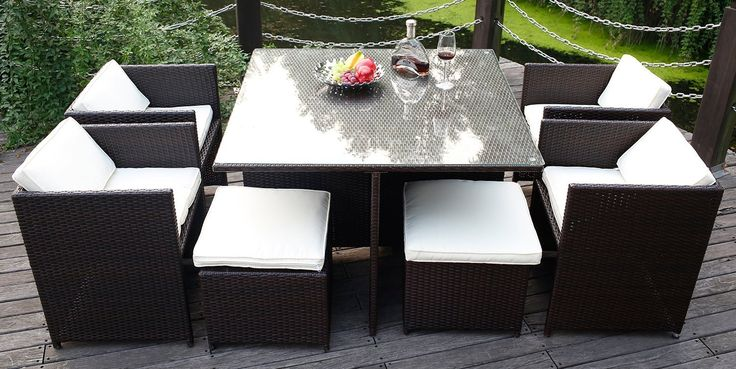 Modern Indoor/Outdoor All Weather PE Wicker Rattan Table Patio Set Gardern Furniture Dining Sets