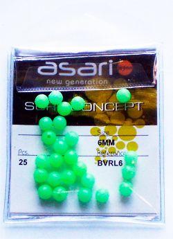 Perlas Asari Rigidas Biperforadas Redondas Fosforescentes calidad ASARI disponibles en 4 y 6mm.  Perlas taladradas calidad ASARI presentadas en paquetes de 25 unidades.