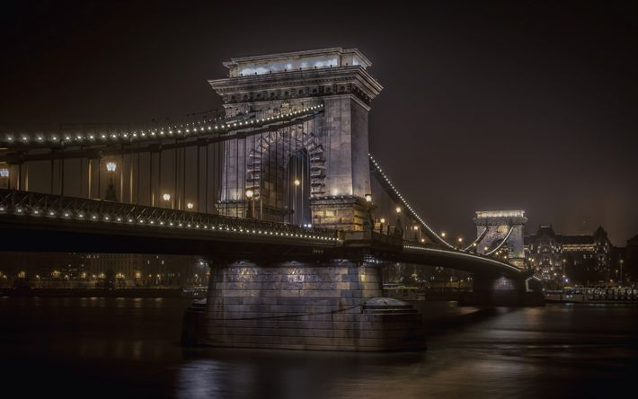 Download wallpapers Chain Bridge, Budapest, sights, city lights, night, Danube, Hungary