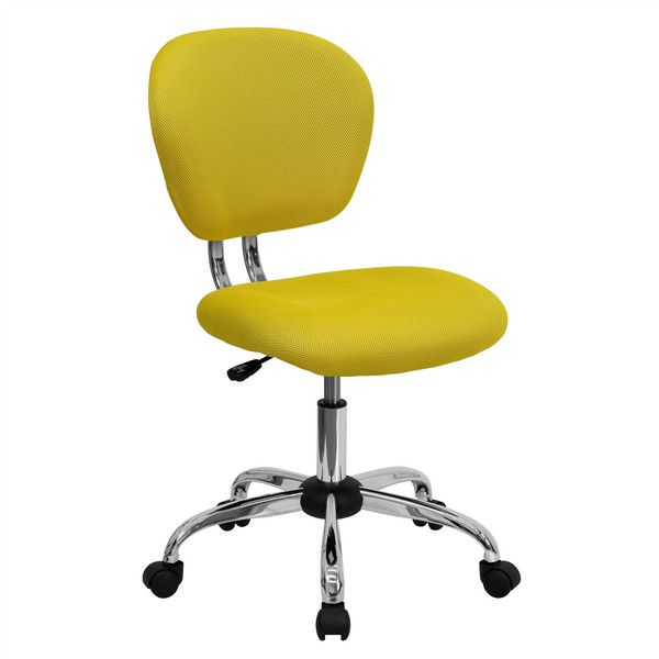 Hearts Attic Yellow Mesh Mid-Back Desk Chair - Great for Home Office ($106) ❤ liked on Polyvore featuring home, furniture, chairs, office chairs, padded office chair, mesh chair, mesh desk chair, wheel chair and adjustable lumbar support office chair