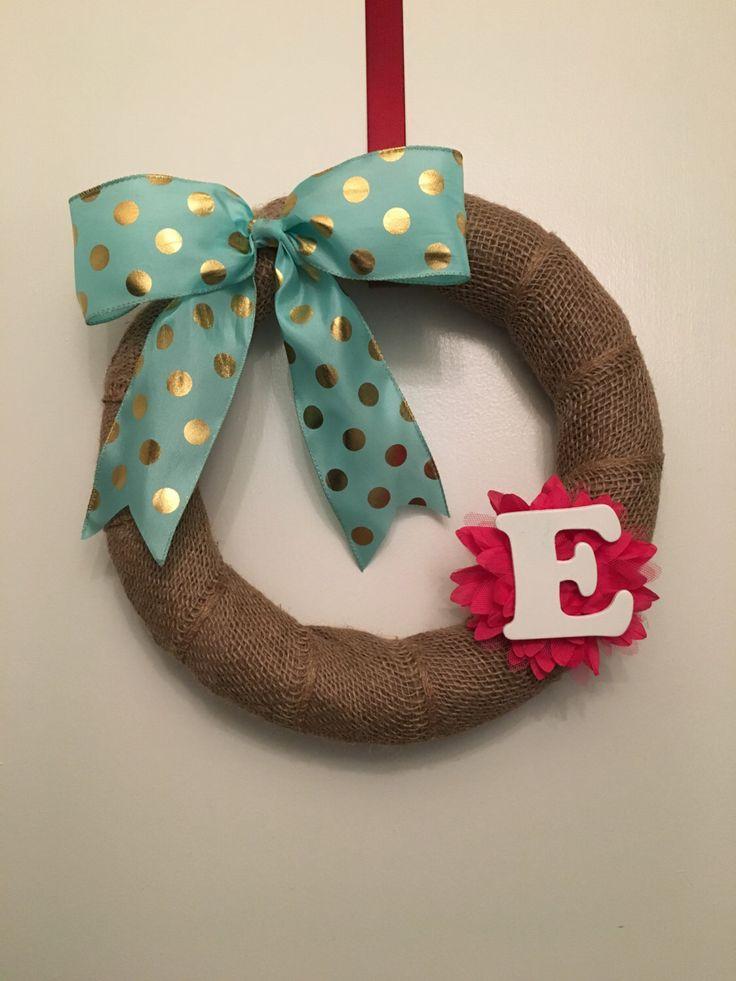 Mini Burlap Initial Wreath by MangoBerryFarms on Etsy https://www.etsy.com/listing/263508737/mini-burlap-initial-wreath