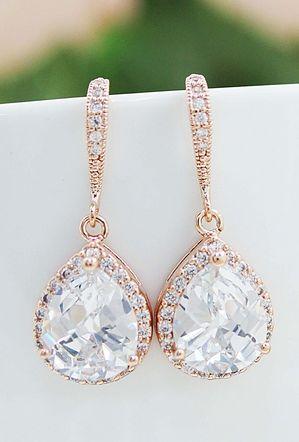 blush pink champagne earrings http://www.earringsnation.com/bridal-jewelry/lux-rose-gold-clear-white-cubic-zirconia-crystal-tear-drop-bridal-earrings#.UwT5lUJdVg9