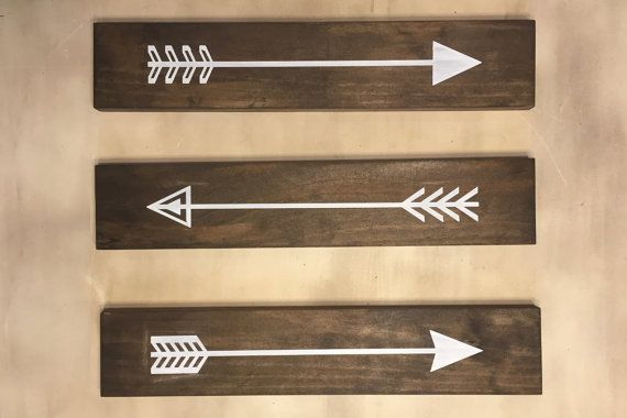 Set of 3 Rustic Wood Arrows Wall Decor. by ModernRusticBoutique