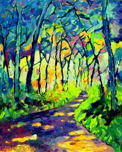 "Daily Paintworks - ""Unti12 x 10 inch oil Pathway Mosaic"" - Original Fine Art for Sale - © Linda Yurgensen"