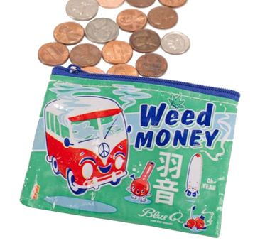 Our adorably giggly Weed Money Coin Purse is highly sought after throughout the kawaii loving stoner community.Let's be blunt.  It might not be big enough for your stash but... it's a start!For sure, it can easily hold some coinage and credit cards to enable your munchies cravings, or if you'd prefer... a lighter, along with a dime bag and a couple of jays.  Just sayin'.This awesome style is made with 95% recycled post consumer material. Gooooooo environment! It has a crushed, wrinkl