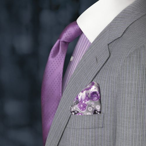 grey pinstripe suit purple tie and shirt clothes