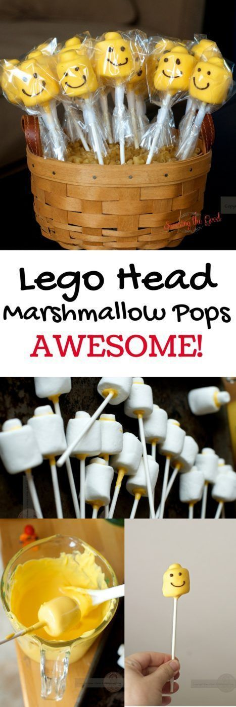 Lego Head Marshmallow Pops from savoringthegood.com. So cool! There are step by step instructions so you can easily make these for your next party.