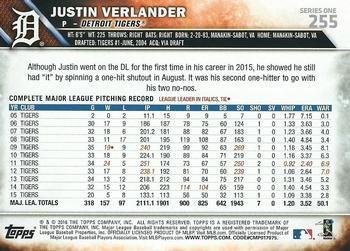 2016 Topps #255 Justin Verlander Back
